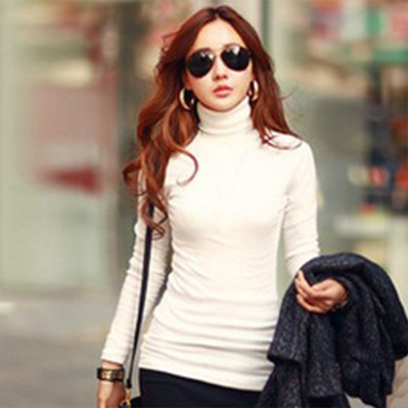 Autumn Winter Women Shirts Long Sleeve Turtleneck Tops Solid Color Basic T-shirt Slim Ladies Warmer Pullovers IK88