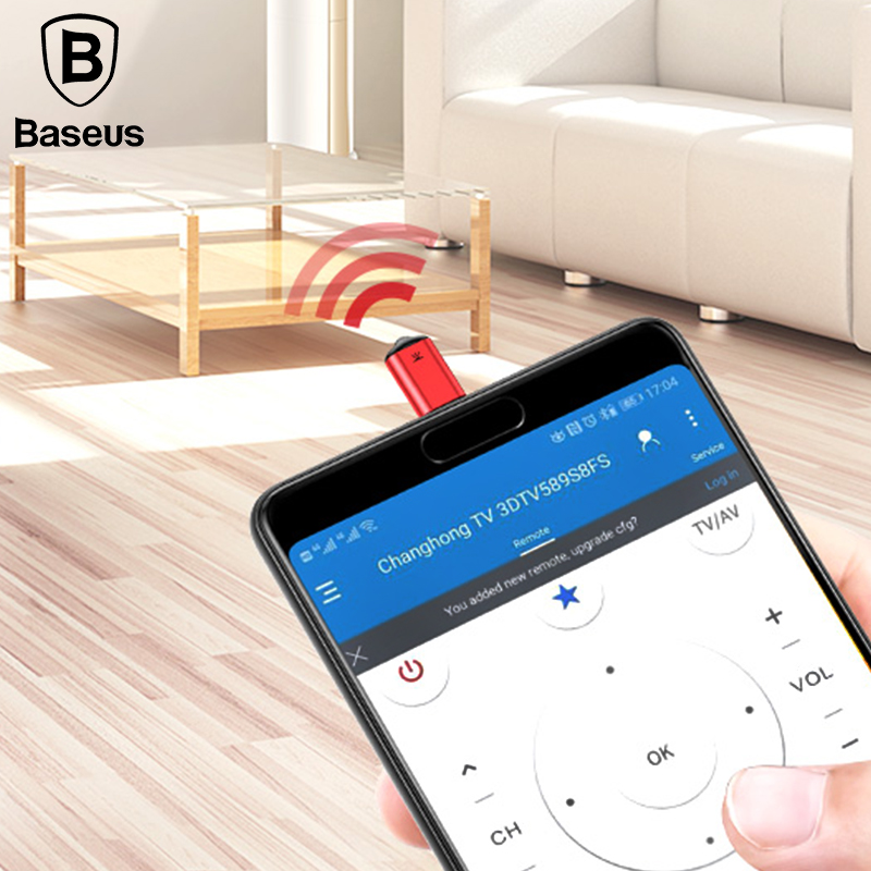 Baseus RO2 Type-C Jack Universal IR remote control for Samsung Xiaomi Smart infrared remote control for TV aircondition STB DVD ...