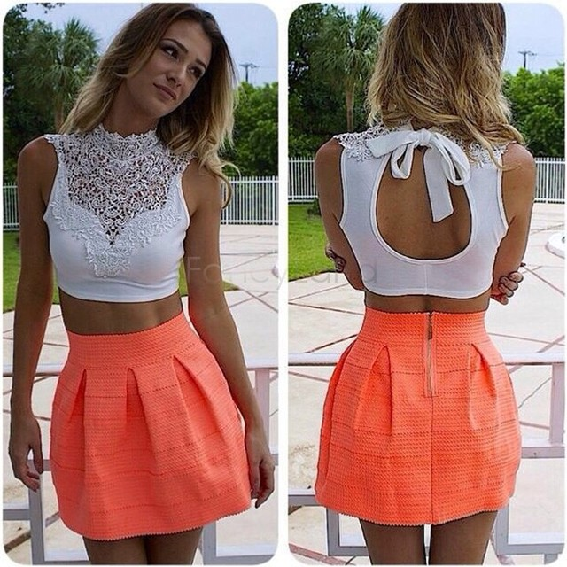 Womens Tank Tops Fashion 2016 Summer Backless Sleeveless Short Vest Hollow Out White Lace Sexy Crop Top $5k