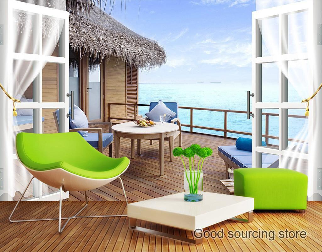 US $13 07 OFF 3D Pemandangan Laut Balkon Foto Wallpaper Photo Wallpaper Balcony Photosphoto Wallpaper 3d AliExpress