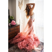 Fashion See Through Tulle Long Skirt Unique Ruffles Bottom Maxi Skirt for Photo Shoot Sexy One Layer Tulle Prom Party Gowns