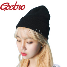 Geebro Fashion Unisex Hip Hop Ring Autumn Winter Beanies Solid Ski Knitted Hat Cool Punk Hoop Cap for Men & Women Gorros JS209