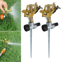 2pcs Useful Garden Sprinkler Spike Lawn Grass Adjustable Rotating Water Sprayer for Garden Irrigation Hogard