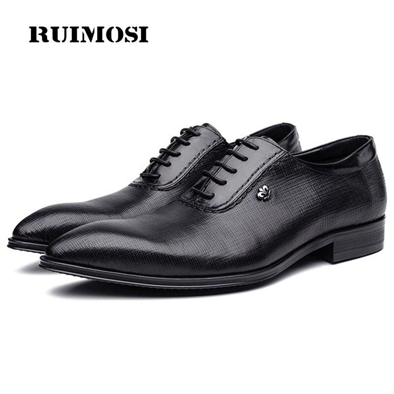 RUIMOSI Fashion Pointed Toe Man Oxford Shoes Luxury Designer Genuine Leather Male Formal Dress Wedding Bridal Men's Flats GD83
