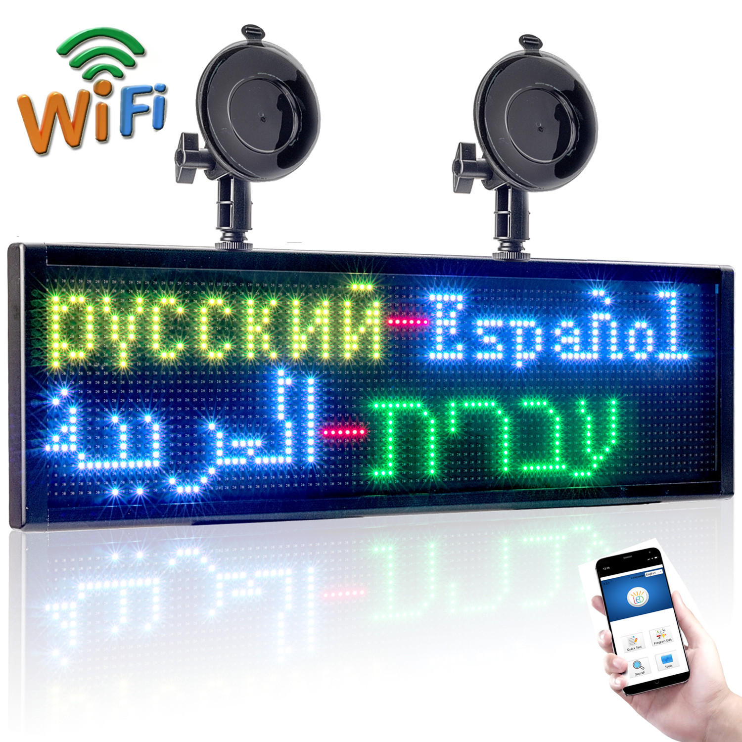50*15CM P5MM RGB Full Color Car LED Sign Display Board, 12V Wifi Programmable Scrolling Information Multi-functio LED Screen