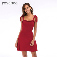 Yovamoo Ladies Dress Summer Bandage Spaghetti Strap Casual Knitted Red Dresses Plus Size Women Clothes 2018