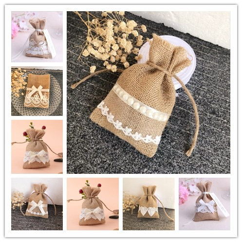 100pcs lot Mixed Style Lace Favor Bags Burlap Candy Bag Rustic gift packing bag for Wedding