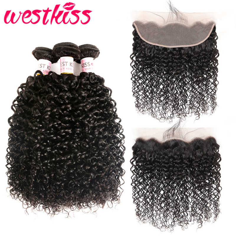 West Kiss Curly Bundles With Frontal Preplucked Brazilian Hair Weave Bundles With Lace Frontal Closure Remy Human Hair Extension