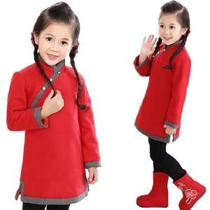 Image 2 - 중국 아기 소녀 드레스 두꺼운 누비 이불 소녀 재킷 치 파오 드레스 어린이 Cheongsam 코트 복장 Qipao Outwear 블라우스 탑스