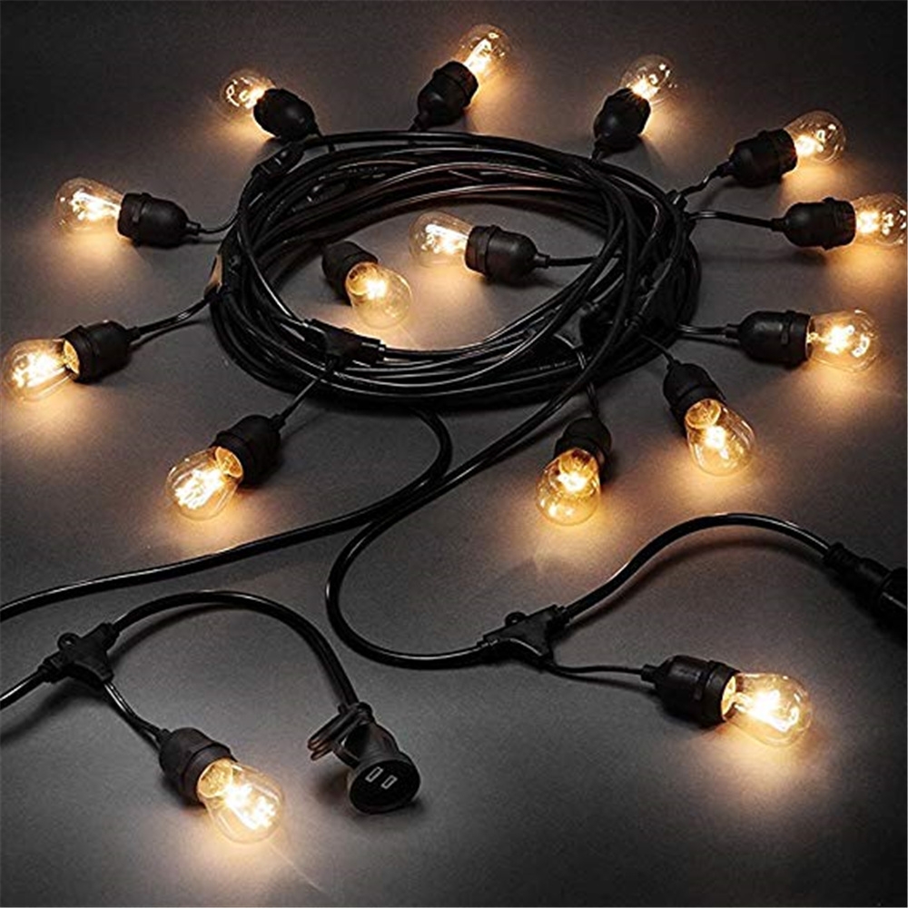 Waterproof 7M 10M LED Bulbs String Lights Indoor Outdoor Commercial Grade E26 E27 Street Garden Backyard Holiday String Lighting