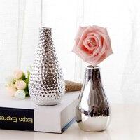 European silver plated ceramic flower vase into modern minimalist decoration Home Furnishing desktop vase