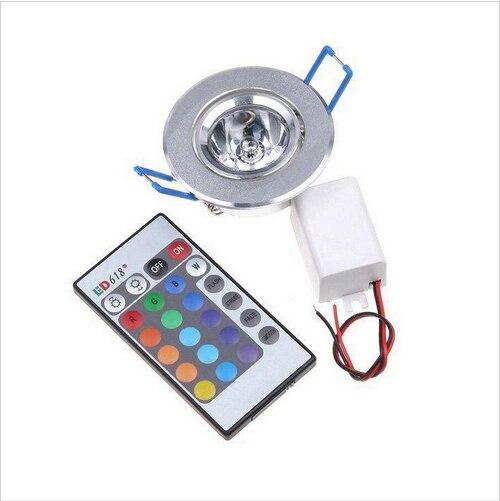 Светодиодный светильник 3 Вт RGB 16 цветов Точечный светильник AC85 265V + ИК пульт дистанционного управления RGB светодиодный потолочный светильни...