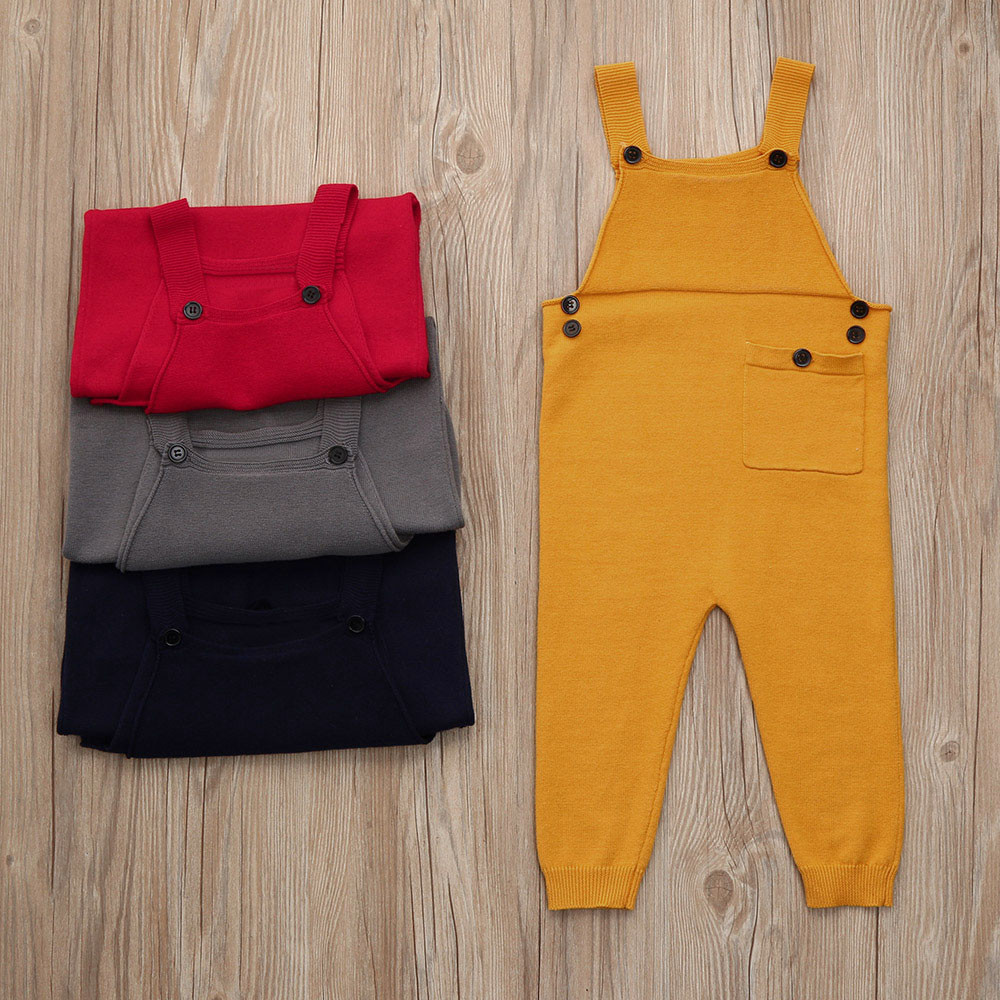 c6cd42ee37c0 Newborn Toddler Kids Baby Boys Girls Knitted Overalls Strap Rompers ...