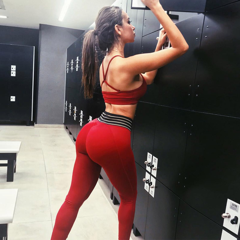 3ea29f8856a92 GXQIL Gym Sport Suit Woman Sportswear Red Workout Clothes Tracksuit ...