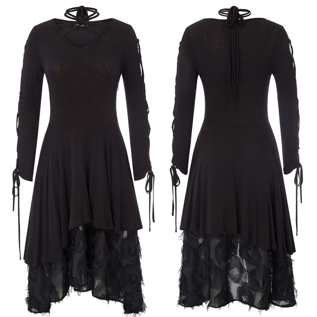 A-line Black dress Women retro style Gothic Victorian Long Ribbon Lace up Sleeves V-Neck Witchy vintage Dress for party vestido 2