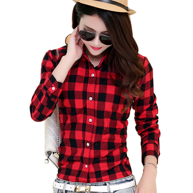 2016 Hot Sale Women Shirts tops new 100% Cotton Flannel Plaid Shirt Female Student Women's Long-sleeve Plus Size Basic Blouses