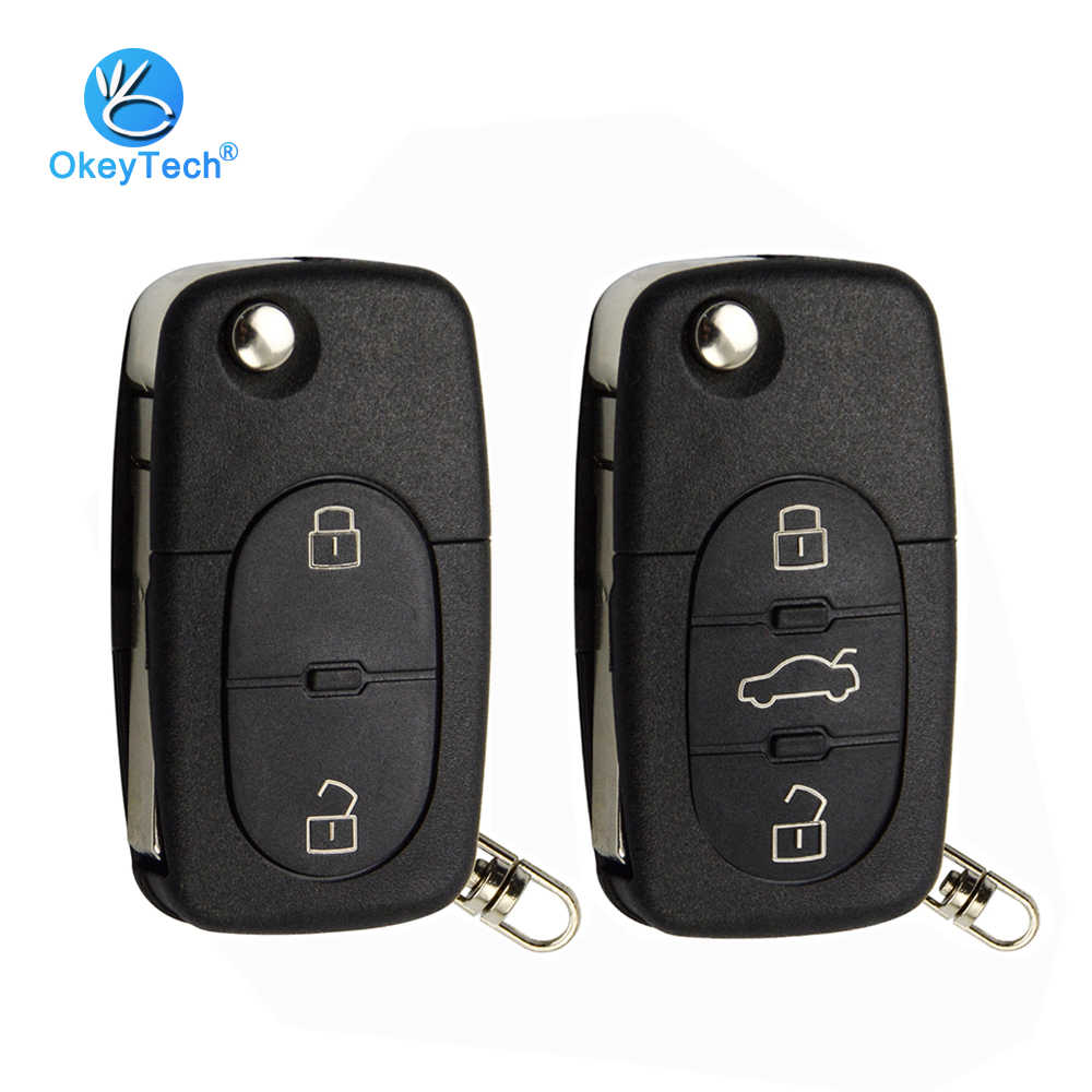 OkeyTech 2/3 Button Flip Folding Car Key Shell Cover Case Fob CR1620 CR2032 Battery Holder HAA For Audi TT A2 A4 A6 A8 Quattro