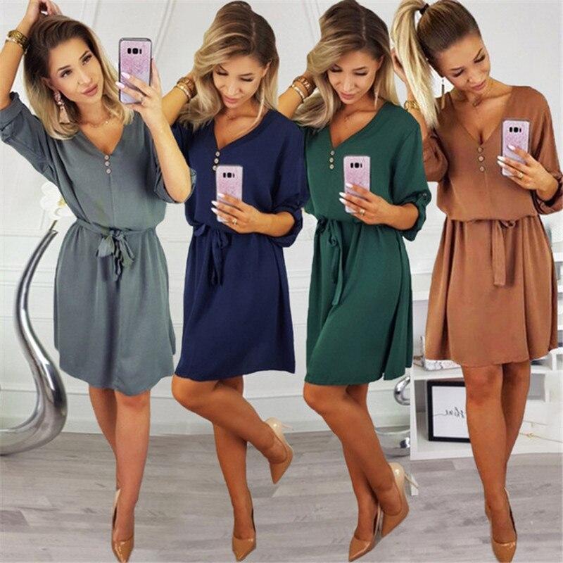 e1196812aa77f3e Новый 2019 модные весенне-летние платья Для женщин сексуальный v-образный  вырез с коротким рукавом деловая модельная одежда для женщин; Цвет з.