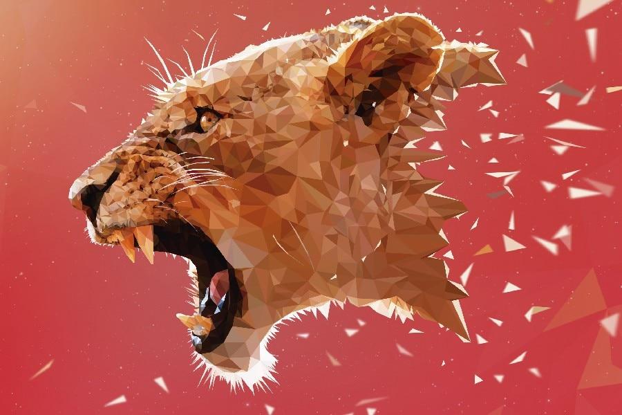 Φ_ΦDIY marco rey de animal salvaje estilo fantasía Telas pared seda ...