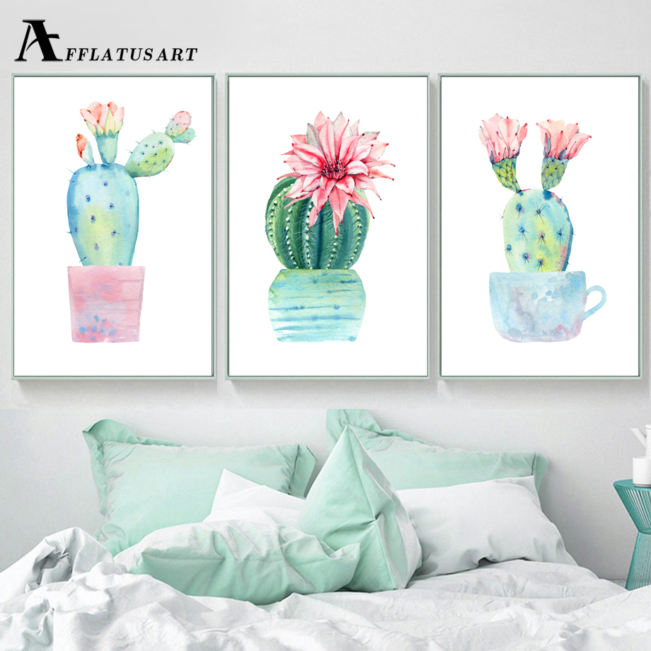Canvas Prints For Living Room Places To Buy Furniture Afflatus Potted Cactus Painting Wall Art Posters ...