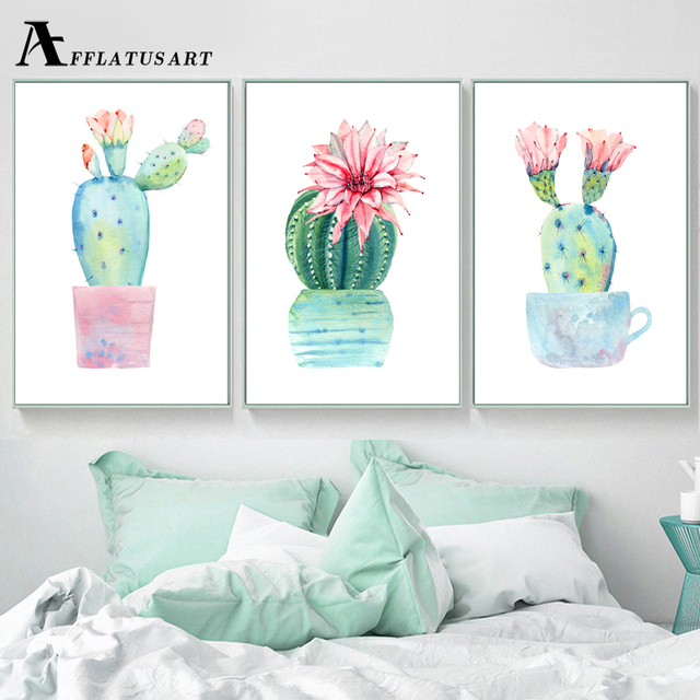 Watercolor Potted Cactus Wall Art Canvas Painting Posters And Prints ...