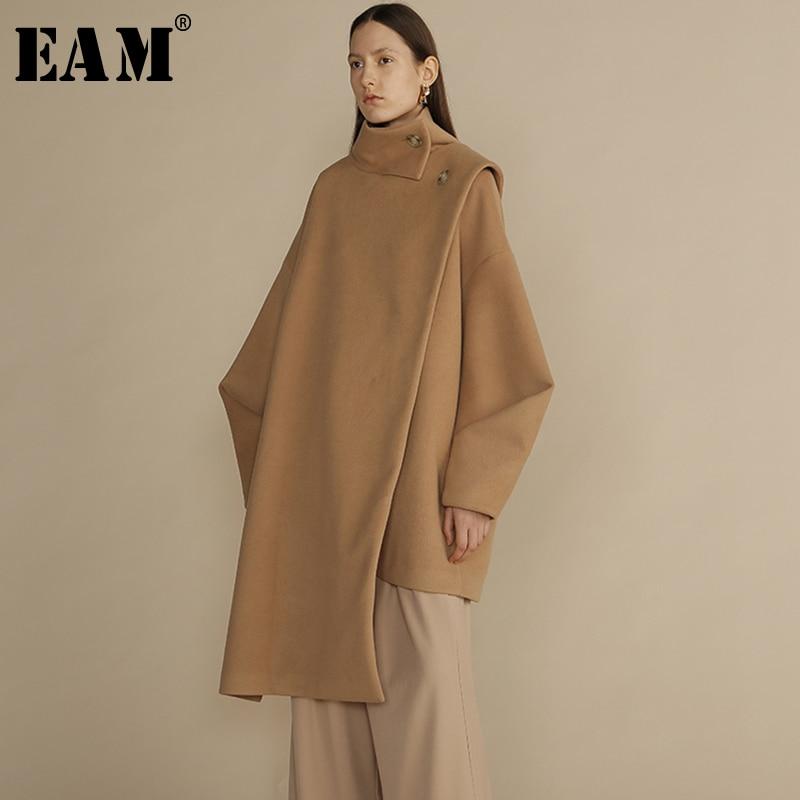 [EAM] 2019 Новинка весны Стенд ошейник с длинным рукавом верблюд большой Размеры Длинные Нерегулярные шерстяные пальто Для женщин парки модные