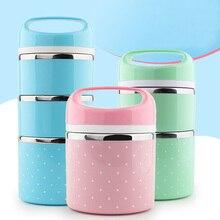 Tragbare Edelstahl-thermos Lunchbox Thermische Isolierte Lebensmittelbehälter Box Bento Lunch Box