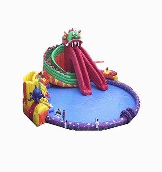 Good quality inflatable slip n slide with pool цена 2017