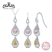 Rinntin 925 Sterling Silver Women Necklace&Earrings Sets With AAA CZ Cubic Zircon Water Drop Shape Female Jewelry Set TSS11