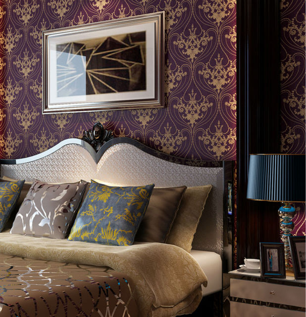 Luxury victorian vintage golden damask on purple wallpaper bedroom wallpaper wall covering