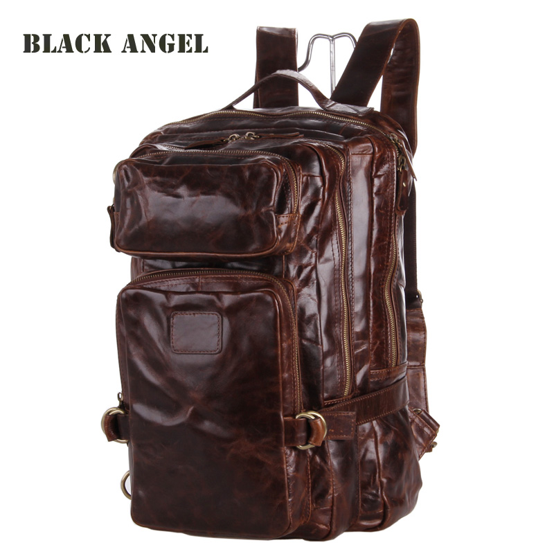High-grade men backpack oil wax Genuine Leather multifunctional design Casual Travel Bags mochila baijiawei fashion design men oil wax leather backpack men s school backpack