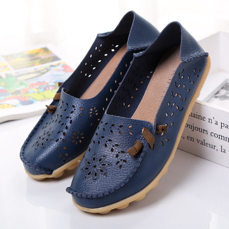 Plus Size Women Flats Spring Fashion Comfort Cut Out Women Shoes Genuine Leather Shoes Woman Non-slip Breathable Ladies ShoesPlus Size Women Flats Spring Fashion Comfort Cut Out Women Shoes Genuine Leather Shoes Woman Non-slip Breathable Ladies Shoes
