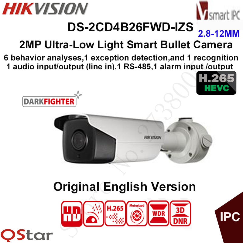Hikvision 2MP Ultra-low light H.265 Smart Security IP Camera DS-2CD4B26FWD-IZS Bullet CCTV Camera POE Motorized Audio/Alarm I/O hikvision english version ds 2cd2025fwd i 2mp ultra low light network mini bullet ip security camera poe sd card h 265