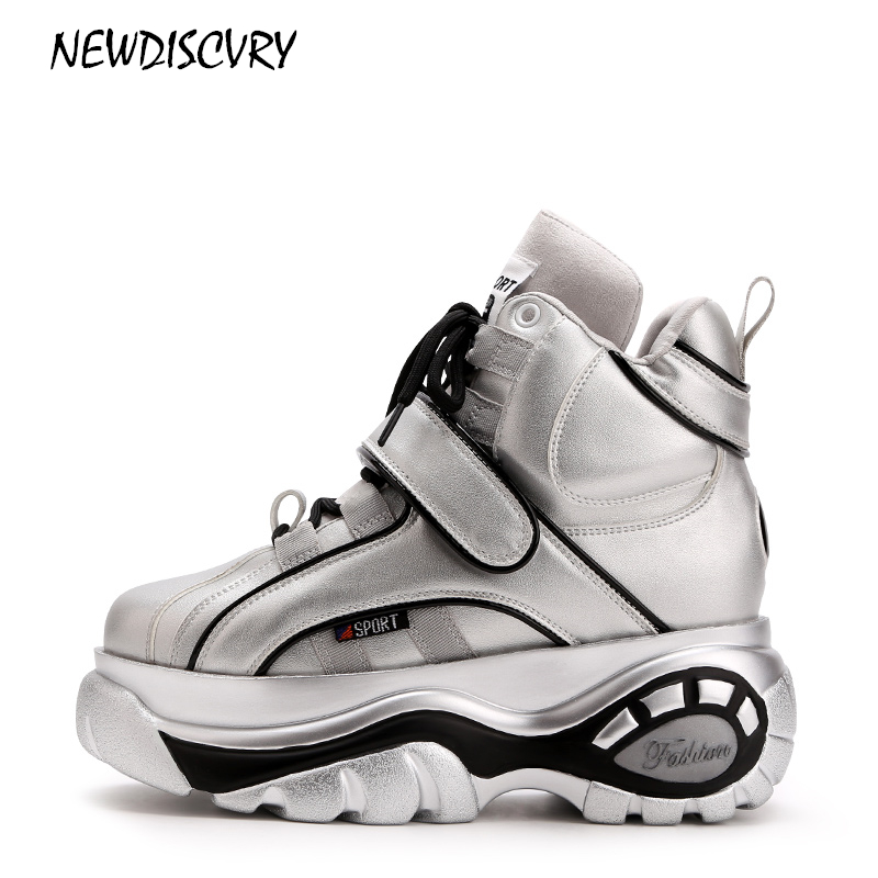 NEWDISCVRY Silver Women Platform Sneakers 2018 Brand Fashion White Women s Increase ladies Shoes Casual Hook