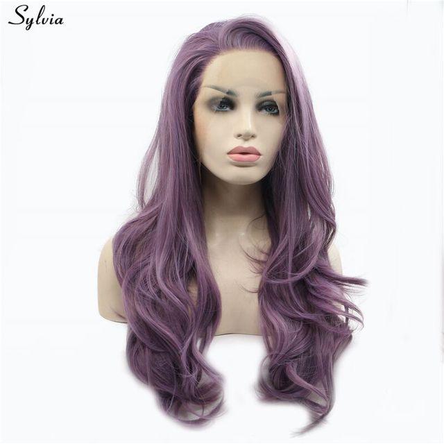 Sylvia Long doux ondulé Tyrian Violet perruques