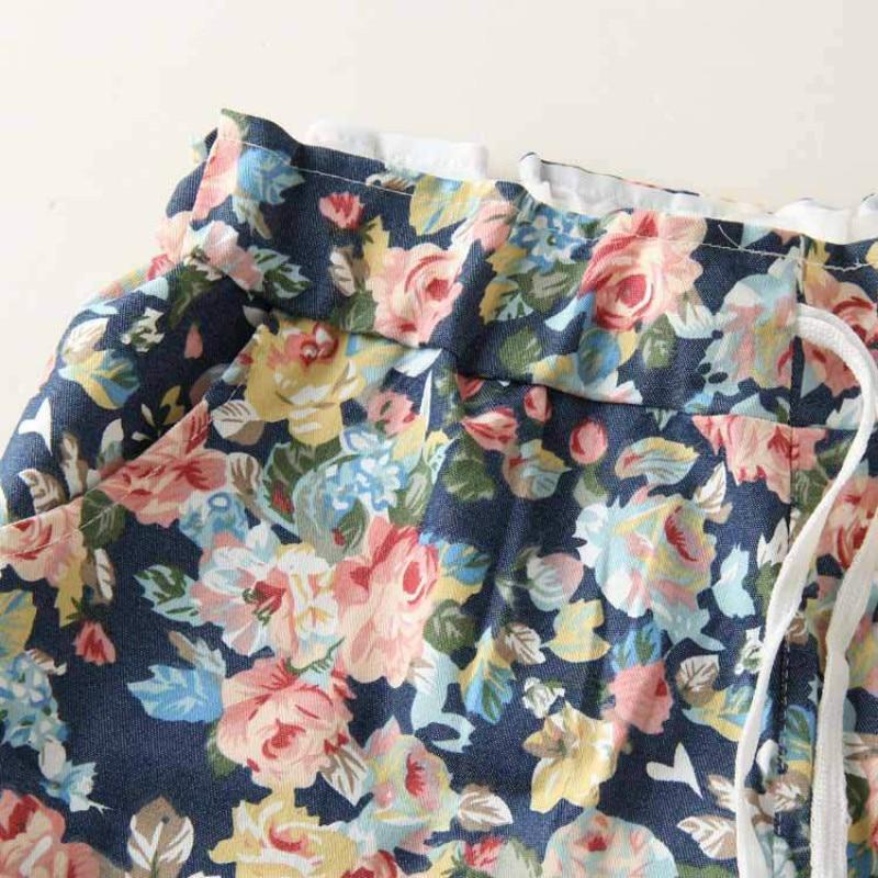 2018 summer flower printed shorts women casual mini sweatpants wide leg women clothe high waist plus size shorts women 1