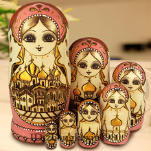 Collection 7Pcs/Set Wooden Russian Dolls Nesting Dolls Maiden Wishing Doll Beautiful Handmade Matryoshka Doll Kids Toys Gifts