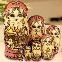 Collection 7Layers/Set Wooden Russian Dolls Nesting Maiden Wishing Doll Beautiful Handmade Matrioska Russa Kids Baby Toys Gifts