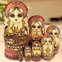 Sammlung 7 Schichten/Set Holz Russische Puppen Nesting Maiden Wishing Puppe Schöne Handgemachte Matrioska Russa Kinder Baby Spielzeug Geschenke