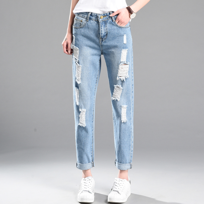 Women Casual washed Harem Pants Hole Trousers For Ladies Blue Ripped High Waist Denim long Length Jeans Loose spring Plus Size women high waist denim harem pants vintage style bleached pants casual ripped hole ankle length loose soft harem jeans