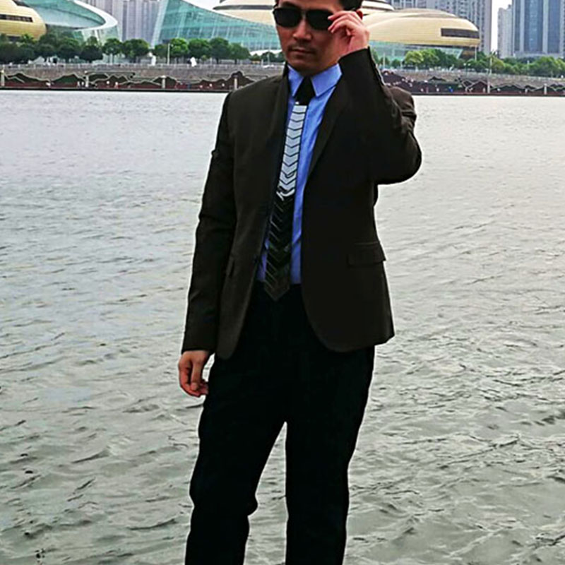 Geometric Concept Alter Sol Hook Shape Black Mirror Fashion Geometric Acrylic Necktie Black Tie for Wedding