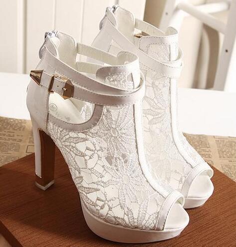 ФОТО 2016 New New Lace Women Platform Pums Sandals White Mesh Black High Heels Peep Toe Shoes  BAOK-06c8