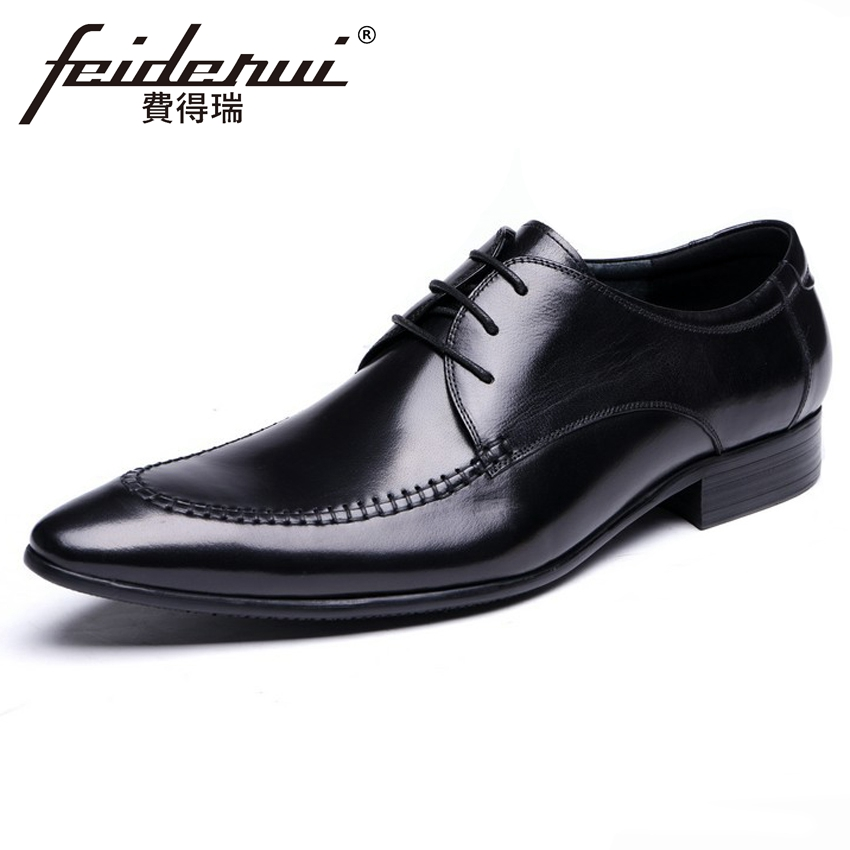 Genuine Leather Italian Designer Men's Wedding Party Footwear Pointed Toe Lace-up Derby Man Handmade Formal Dress Shoes YMX585 new italian designer men s wedding party footwear genuine leather pointed toe lace up derby man luxury formal dress shoes ymx504