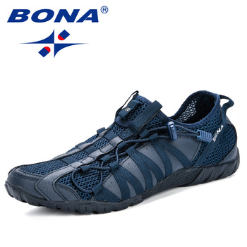 BONA 2019 New Popular Casual Shoes Men Lac-up Lightweight Comfortable Breathable Walking Sneakers Man Tenis Feminino Zapatos