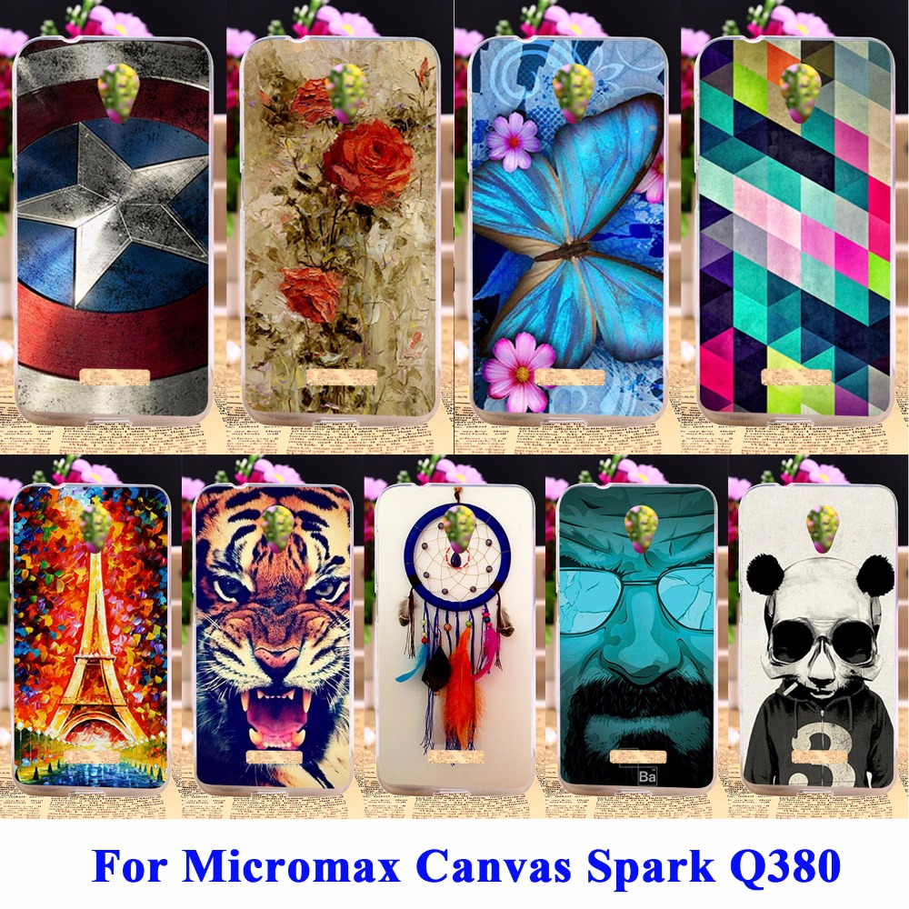 DIY Flexible Soft TPU Silicon Cell Phone Cases Covers For Micromax Canvas Spark Q380 Housing Bags Skin Shell Protector Shield