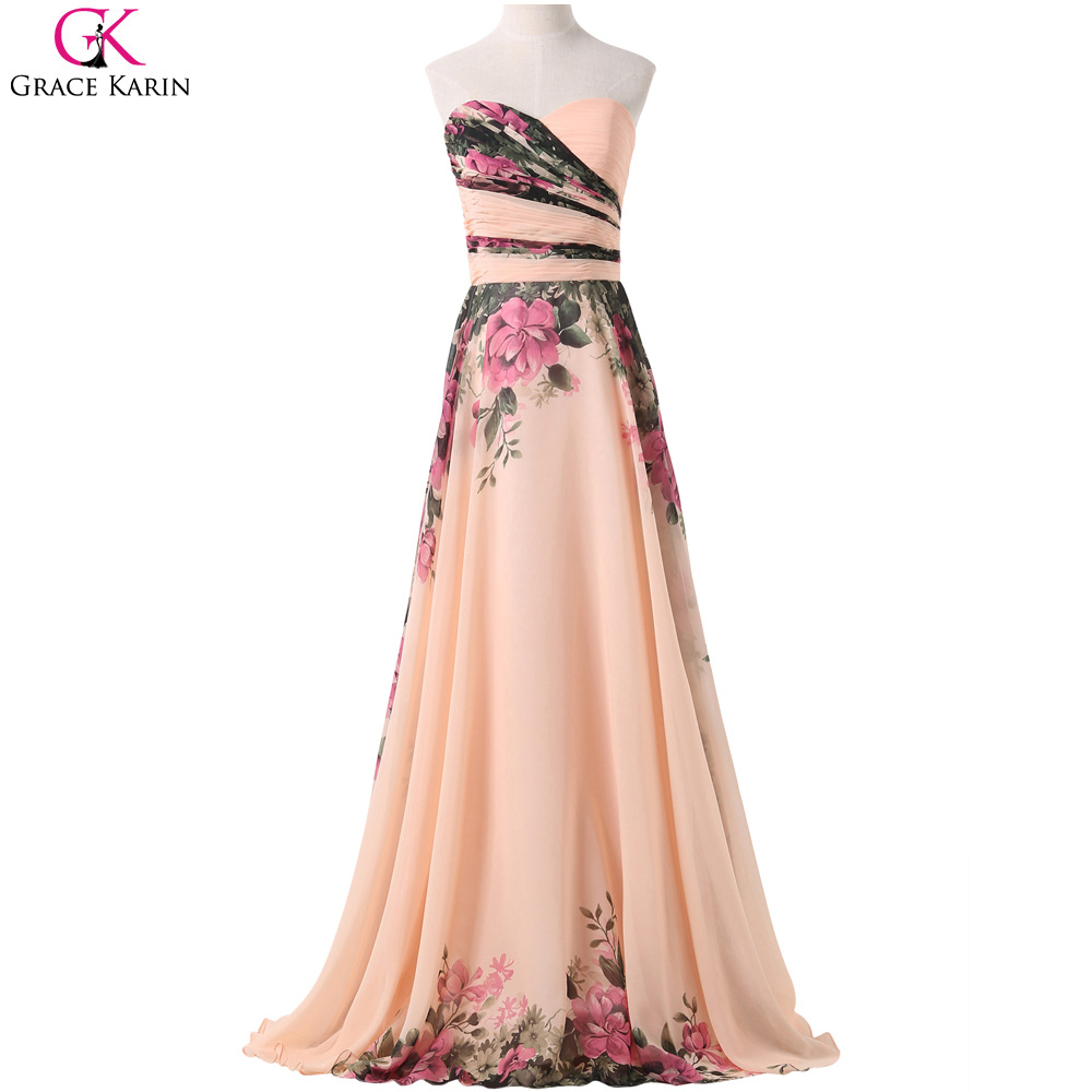 Chiffon bridesmaid dresses grace karin strapless floral for Elegant wedding party dresses