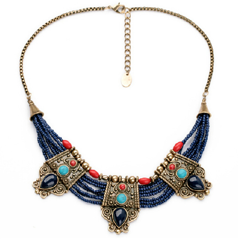 58f18b14c6d4 Classy Art New Fashion Luxury Brand Blue Beads Vintage Water Drops Necklace  For Women Charm Design Jewelry-in Pendant Necklaces from Jewelry    Accessories ...