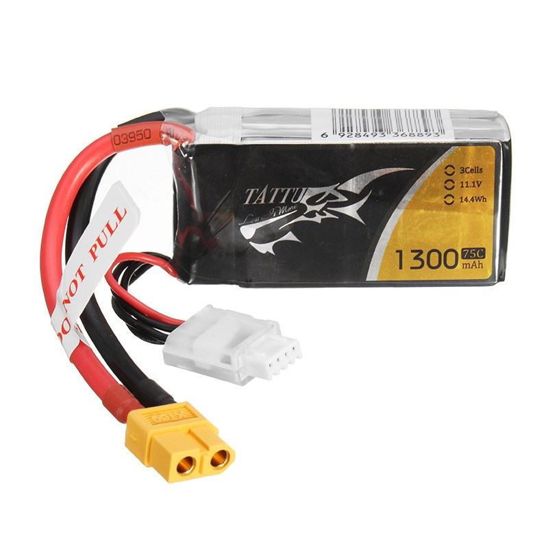 TATTU 11.1V 1300mAh 75C 14.4Wh 3S XT60 Plug Lipo Battery for RC Racing Drone Racer Helicopter Toy Models Replacement Accessories mos rc airplane lipo battery 3s 11 1v 5200mah 40c for quadrotor rc boat rc car