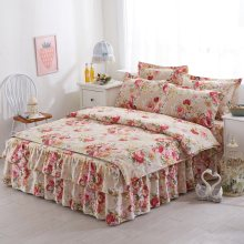Koran princess floral print bedding bedclothes Queen King size duvet cover bed set bedcover bedskirt pillowcase bedding sets(China)