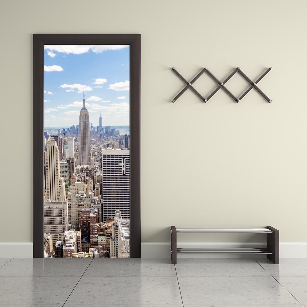 3D New York Manhattan Pattern Door Sticker Wooden Wall Sticker Bedroom Living Room TV Sofa Background Decorative Sticker